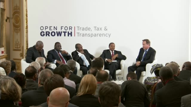 governments begin to investigate LIB / Lancaster House INT Various shots David Cameron at Lancaster House G8 'Open for Growth' conference