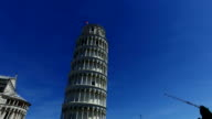 Leaning Tower of Pisa, Italy. Blue sky