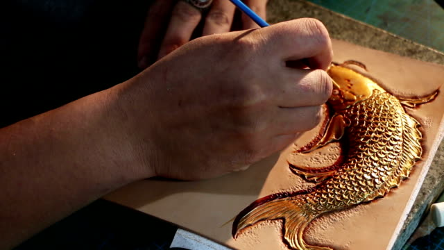 leatherworker paint  fish pattern on leather