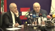 Lebanese Labor Minister Mohammad Kabbara and State Minister for Refugees Affairs Mou'een elMeherbi hold a press conference on refugee crisis on May...