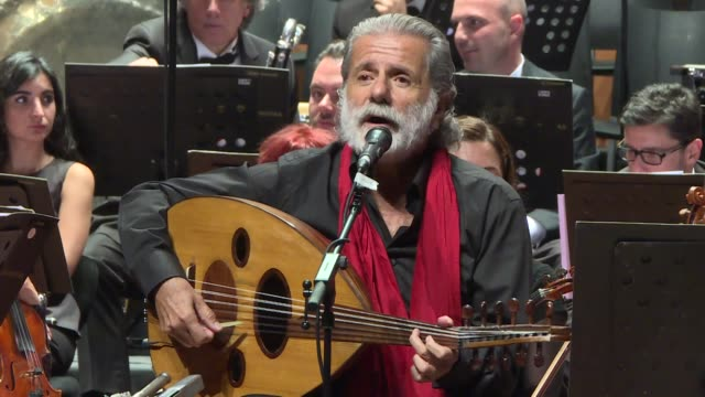 Lebanese musician Marcel Khalife performs on stage together with Lebanese and Istanbul State Symphony Orchestras as part of the Al Sharq Forum at...