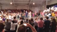 Senator Ted Cruz holds campaign rally to a packed house at Boone County Fairgrounds in Lebanon Indiana Interviewees Male red shirt Mike Warwick 40yo...