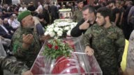 Lebanon's powerful Hezbollah group organized Saturday in a Beirut suburb a funeral procession for slain combatants