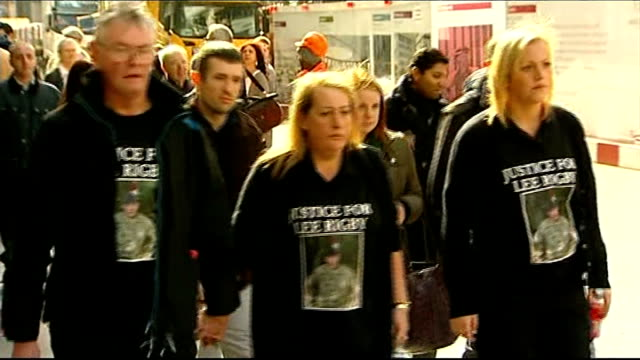 Woolwich attack first anniversary 2622014 / T26021401 London Old Bailey Family members of murdered soldier Lee Rigby Ian Rigby Lyn Rigby Sara McClure...
