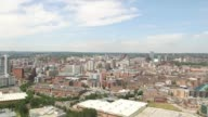 Leeds City Skyline Aerial Tracking Shot from South