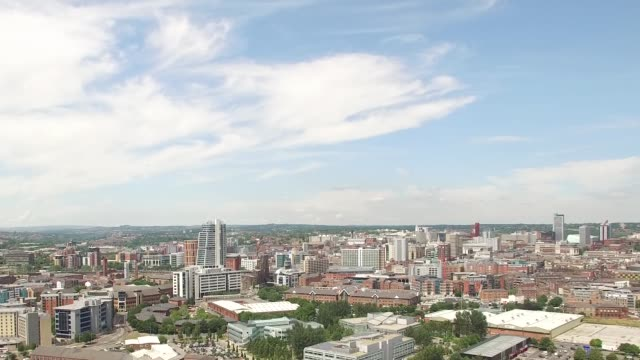 Leeds City Skyline Rising Aerial Shot from South