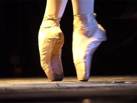 leg ballerina standing on pointe