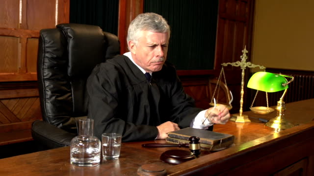 Legal Judge thinking in Court (Courthouse)- Two Shots