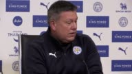 Leicester caretaker manager Craig Shakespeare speaks at a press conference to preview Monday's Premier League match at home to Liverpool less than 24...