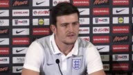 Leicester defender Harry Maguire speaks to media about his first senior England callup for the 2018 World Cup qualifiers against Malta and Slovakia