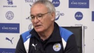 Leicester head coach Claudio Ranieri holds a press conference ahead of the Premier League champions' trip to Burnley tomorrow
