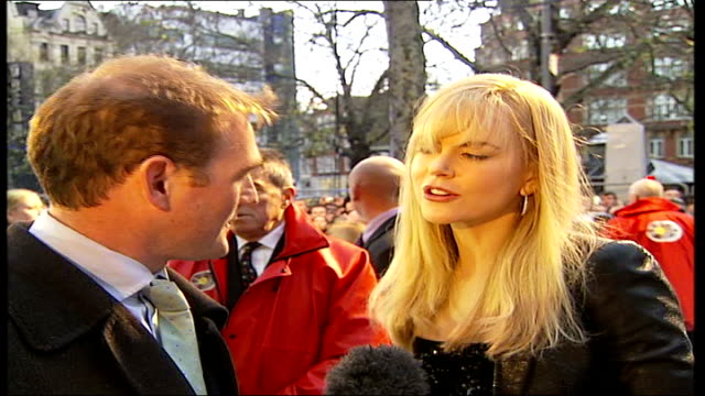 Leicester Square premier of 'Happy Feet' red carpet arrivals Nicole Kidman interview SOT nice to have a film parents can take their children to see/...