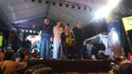 Lenin Moreno celebrates accompanied by Rafael Correa after Electoral Court announced him presidentelect of Ecuador