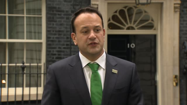 Leo Varadkar speaking at Downing Street ENGLAND London Downing Street EXT No 10 door opens and Leo Varadkar walks out to give a press address Leo...