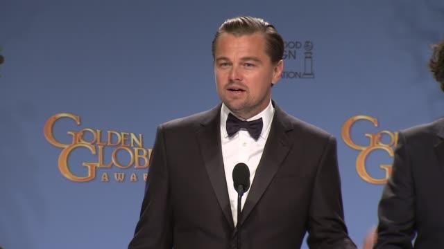 SPEECH Leonardo DiCaprio and Alejandro González Iñárritu at and 73rd Annual Golden Globe Awards Press Room at The Beverly Hilton Hotel on January 10...