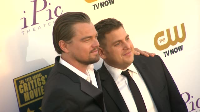 Leonardo DiCaprio Jonah Hill at 19th Annual Critics' Choice Movie Awards Arrivals at The Barker Hanger on in Santa Monica California