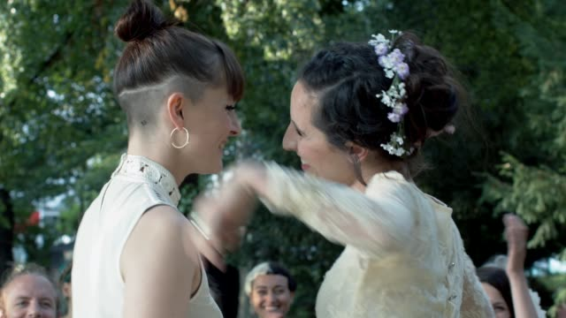 Lesbian couple celebrating their wedding