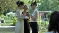 Lesbian couple exchanging rings on their wedding
