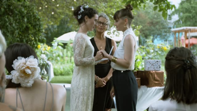 Lesbian couple saying Vows