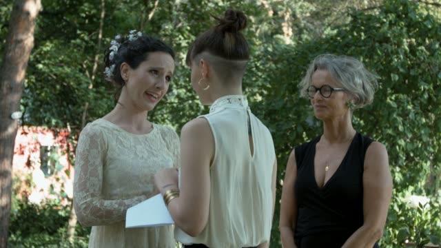 Lesbian couple saying Vows