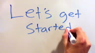 Let's get started written out on whiteboard