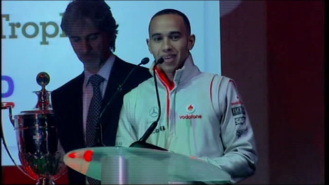 Lewis Hamilton at British racing Drivers Club awards ceremony Hamilton awarded as into room where awards ceremony is being held and to stage and...