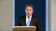 London PHOTOGRAPH *** Liam Fox MP speech SOT on tackling projects within Ministry of Defence enhancing defence exports on reducing costs negotiating...