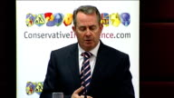 Liam Fox speech Fox speech SOT Could chose fortress Britain approach for border security / Utterly naive / Or decide on a totally committed posture...