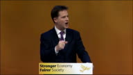 Nick Clegg keynote speech Nick Clegg speech SOT **Speech transcript please check against delivery** Three years ago nearly three and a half I walked...