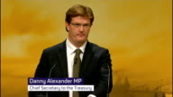 Danny Alexander speech on universal benefits ENGLAND Sussex Brighton INT Danny Alexander MP along to podium and delivering speech SOT At 220 billion...