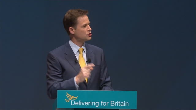 Nick Clegg keynote speech ENGLAND Merseyside Liverpool THROUGHOUT** Nick Clegg onto stage to applause/ members of audience applauding including Vince...