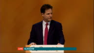 Nick Clegg speech SCOTLAND Glasgow INT Nick Clegg MP delivering speech [Live on air from Glasgow]
