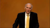 Vince Cable accuses Conservatives of lying over taxation Glasgow Vince Cable MP sitting in audience at Liberal Democrat conference Cable reading...