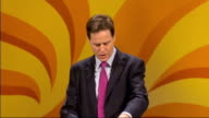 Nick Clegg speech ENGLAND Yorkshire York PHOTOGRAPHY** Nick Clegg MP along on stage to podium to applause SOT Nick Clegg MP speech SOT Since I became...