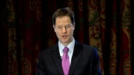 Liberal Democrats announce tax plans for next general election Nick Clegg and Vince Cable speeches ENGLAND London INT Nick Clegg MP speech SOT Today...