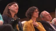 Sir Vince Cable speech CUTAWAY Liberal Democrat MPs Layla Moran and Sir Ed Davey listening to speech as sat next to former MP Sarah Olney