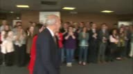 Sir Vince Cable speech ENGLAND Dorset Bournemouth INT Sir Vince Cable MP and Jo Swinson MP into conference centre to applause Cable onto stage and at...