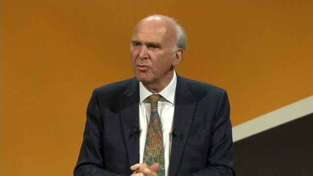 Sir Vince Cable speech ENGLAND Dorset Bournemouth INT Sir Vince Cable MP speech SOT And now another disaster looms Brexit the product of a fraudulent...