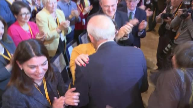 Sir Vince Cable speech Reporter to camera SOT PHOTOGRAPHY**** Moran embracing Cable at the end of the speech ****END OF FLASH PHOTOGRAPHY Tim Farron...