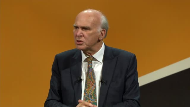 Vince Cable speech ENGLAND Dorset Bournemouth INT Sir Vince Cable MP along and onto stage Vince Cable MP speech SOT re praise for Tim Farron / Iraq...