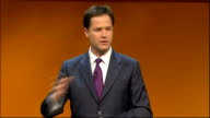 Nick Clegg opening address ENGLAND Birmingham EXT Nick Clegg being introduced SOT Nick Clegg MP speech SOT Thoughts and prayers are with family and...