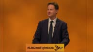 Nick Clegg speech ENGLAND Dorset Bournemouth INT Former Liberal Democrat Leader Nick Clegg onto stage to applause SOT / Tim Farron MP and others...