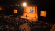 Tim Farron speech ENGLAND Dorset Bournemouth PHOTOGRAPHY *** Empty stage as delegates applaud SOT / Former Liberal Democrat Leaders Nick Clegg MP and...