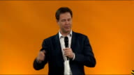 Nick Clegg QA session ENGLAND East Sussex Brighton INT GVs debate taking place and vote / WS conference room / SOT Introduction / GVs Nick Clegg...
