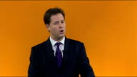 Nick Clegg speech Nick Clegg MP walking onto stage Nick Clegg MP speech SOT Hands up who went to Eastleigh / I have never seen anything like it /...