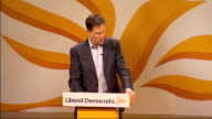 Nick Clegg question and answer session ENGLAND Yorkshire York INT Nick Clegg onto stage to applause SOT [Explanation of question taking SOT] Nick...