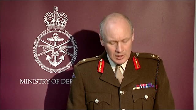 No Fly Zone Major General John Lorimer press conference ENGLAND London Whitehall INT Major General John Lorimer update on No Fly Zone operation over...