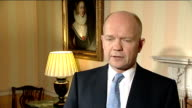 William Hague interview on UN Security Council nofly zone resolution ENGLAND London INT William Hague MP interview SOT We have said for some time...