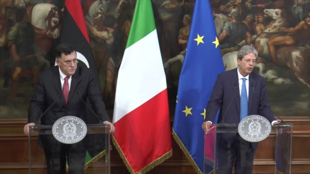 Libyan Prime Minister Fayez alSarraj meets with Italian Prime Minister Paolo Gentiloni at Palazzo Chigi on July 26 2017 in Rome Italy