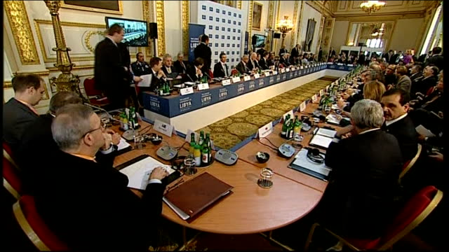 London Conference on Libya Speeches ENGLAND London Lancaster House INT General views of large highceiling room where London Conference on Libya was...